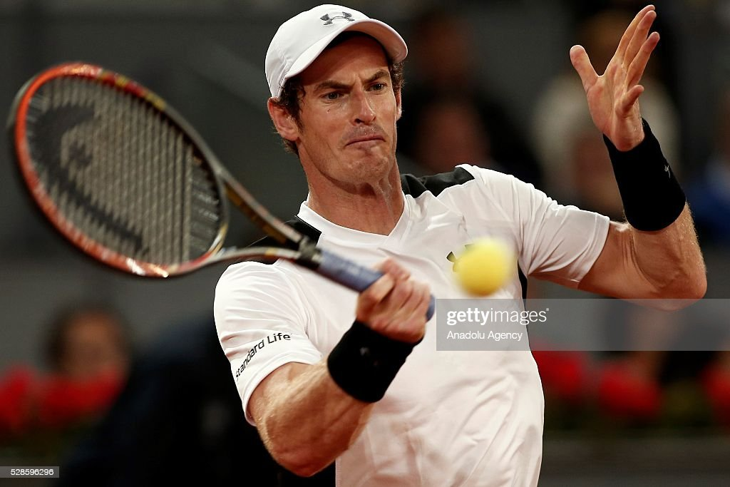Andy Murray of Great Britain in action against Tomas Berdych of the Czech Republic in their quarter final round match during the Mutua Madrid Open tennis tournament at the Caja Magica in Madrid, Spain on May 06, 2016.