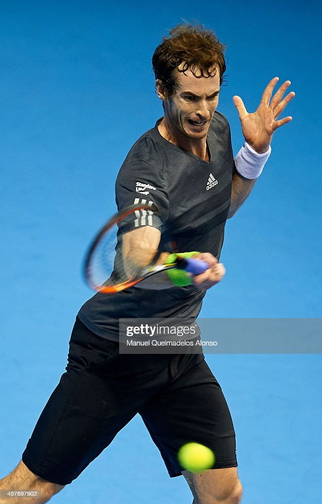 Andy Murray of Great Britain in action against Tommy Robredo of Spain in the final during day seven of the ATP 500 World Tour Valencia Open tennis tournament at the Ciudad de las Artes y las Ciencias on October 26, 2014 in Valencia, Spain.