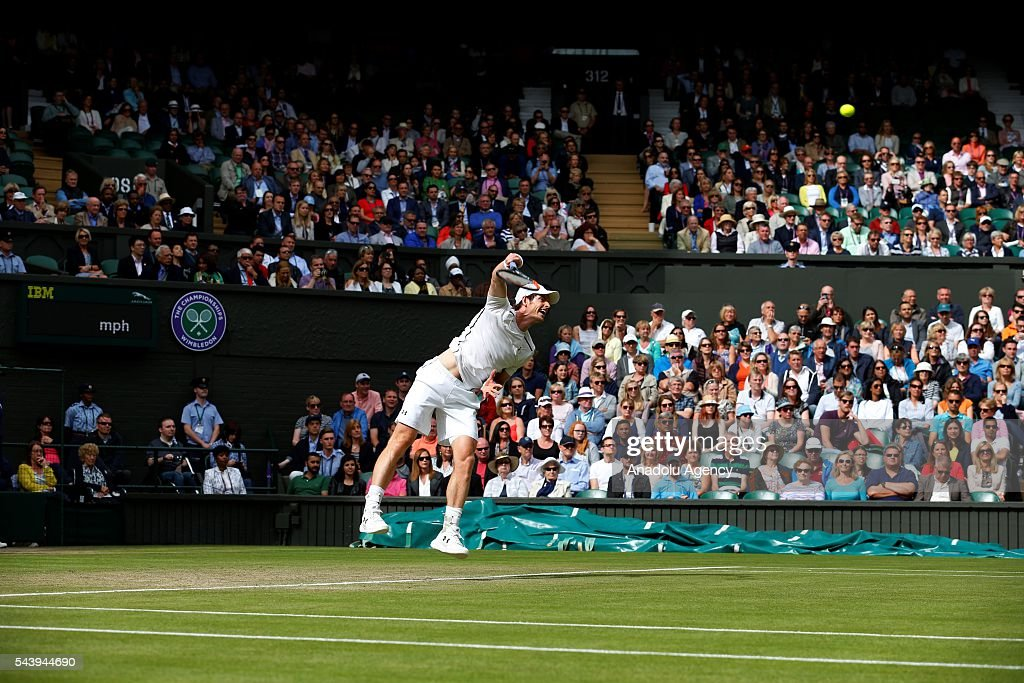 Andy Murray of Great Britain in action against Yen-Hsun Lu (not seen) of Taiwan in the men's singles on day four of the 2016 Wimbledon Championships at the All England Lawn and Croquet Club in London, United Kingdom on June 30, 2016.