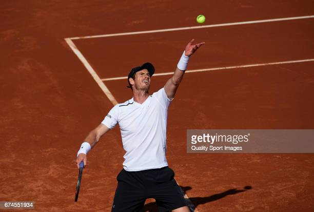 Andy Murray of Great Britain in action at his match against Albert Ramos Vinolas of Spain during the Day 5 of the Barcelona Open Banc Sabadell at the...