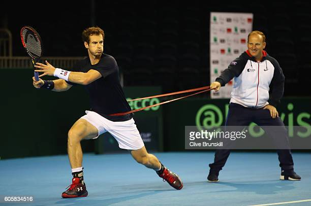 Andy Murray of Great Britain in action during a practice session prior to the Davis Cup World Group semi final tie between Great Britain and...