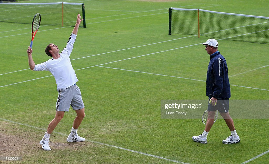 <a gi-track='captionPersonalityLinkClicked' href=/galleries/search?phrase=Andy+Murray+-+Tennis+Player&family=editorial&specificpeople=200668 ng-click='$event.stopPropagation()'>Andy Murray</a> of Great Britain in action during a practice session with coach <a gi-track='captionPersonalityLinkClicked' href=/galleries/search?phrase=Ivan+Lendl&family=editorial&specificpeople=242990 ng-click='$event.stopPropagation()'>Ivan Lendl</a> during previews for Wimbledon Championships at Wimbledon on June 23, 2013 in London, England.