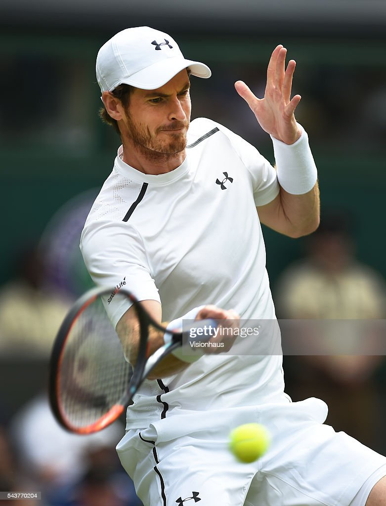 Andy Murray of Great Britain in action during his first round match against Liam Broady of Great Britain at Wimbledon on June 28, 2016 in London, England. (Photo by Visionhaus/Corbis via Getty Images) *** Andy Murray