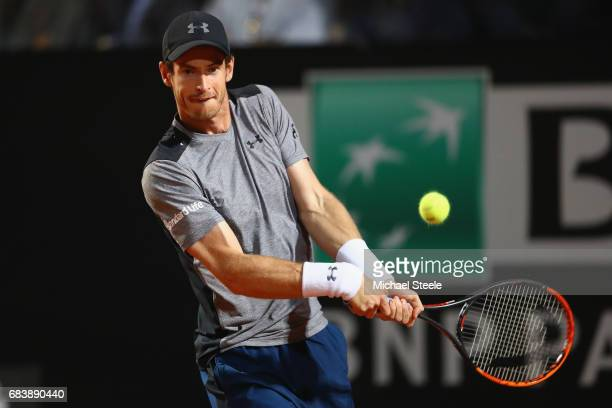 Andy Murray of Great Britain in action during his second round match against Fabio Fognini of Italy on Day Three of The Internazionali BNL d'Italia...
