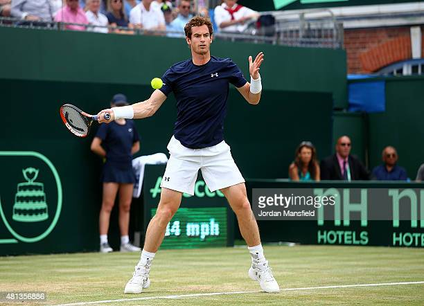 Andy Murray of Great Britain in action during his singles match against Gilles Simon of France on Day Three of The World Group Quarter Final Davis...