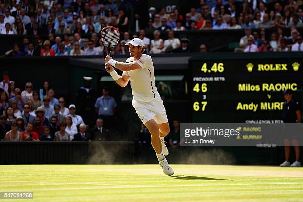 Andy Murray of Great Britain in action during the Men's Singles Final against Milos Raonic of Canada on day thirteen of the Wimbledon Lawn Tennis...