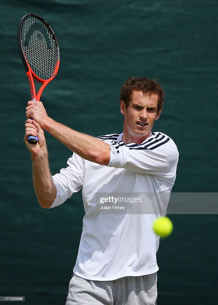 <a gi-track='captionPersonalityLinkClicked' href=/galleries/search?phrase=Andy+Murray+-+Tennis+Player&family=editorial&specificpeople=200668 ng-click='$event.stopPropagation()'>Andy Murray</a> of Great Britain in action in a practice session during previews for Wimbledon Championships at Wimbledon on June 23, 2013 in London, England.