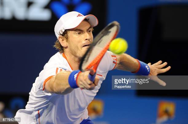 Andy Murray of Great Britain in action in during his men's singles semi final against Novak Djokovic of Serbia on day twelve of the 2012 Australian...