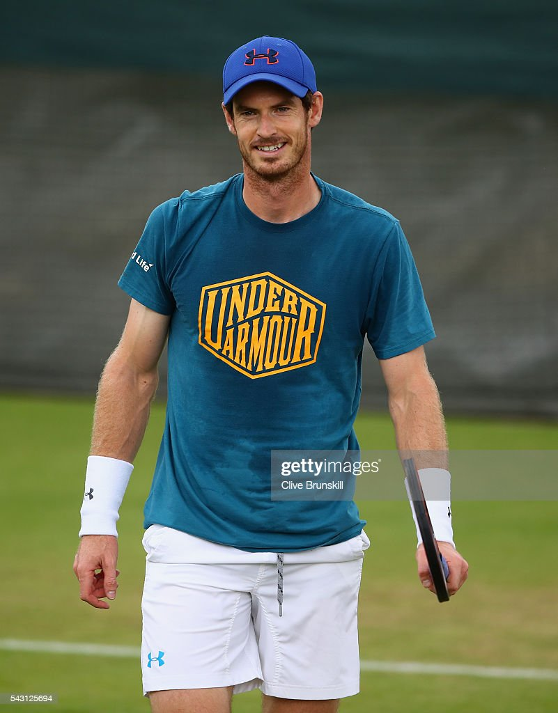 <a gi-track='captionPersonalityLinkClicked' href=/galleries/search?phrase=Andy+Murray+-+Tennis+Player&family=editorial&specificpeople=200668 ng-click='$event.stopPropagation()'>Andy Murray</a> of Great Britain in good spirits during a practice session prior to the Wimbledon Lawn Tennis Championships at the All England Lawn Tennis and Croquet Club on June 26, 2016 in London, England.