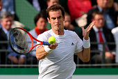 Andy Murray of Great Britain in his match against Kei Nishikori of Japan during the BNP Paribas Tennis Classic at Hurlingham Club on June 20 2013 in...