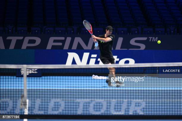 Andy Murray of Great Britain is pictured during a training session prior to the Nitto ATP World Tour Finals at O2 Arena London on November 10 2017