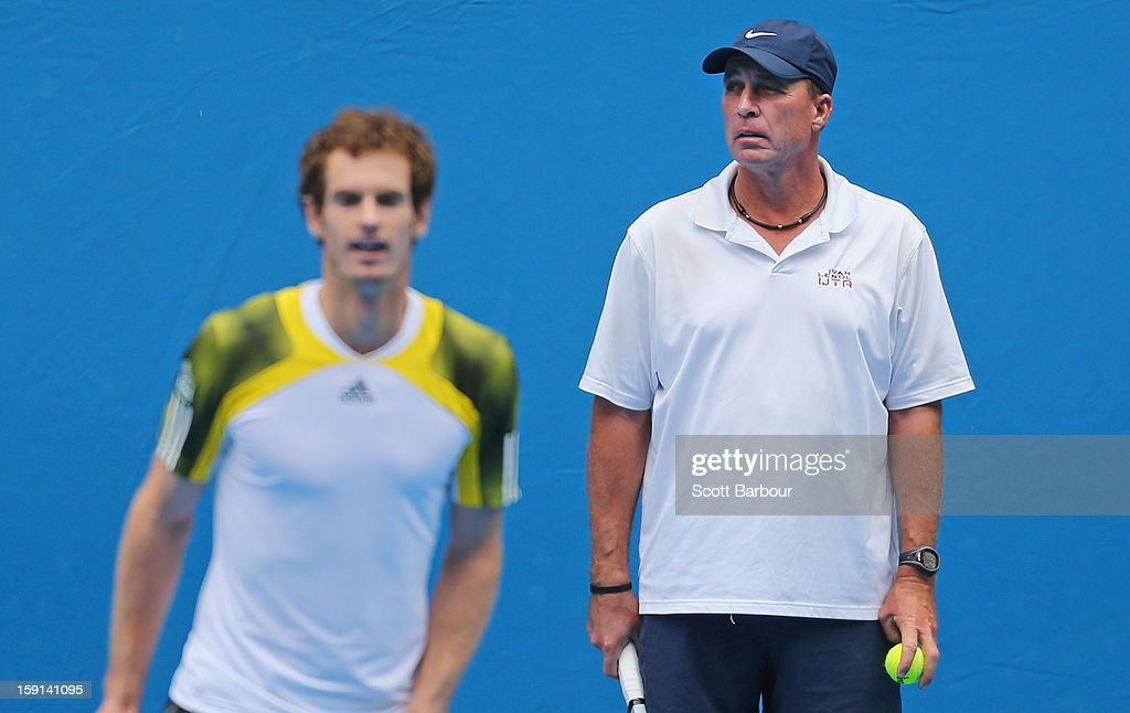 Andy Murray of Great Britain is watched by his coach Ivan Lendl during a practice session ahead of the 2013 Australian Open at Melbourne Park on January 9, 2013 in Melbourne, Australia.
