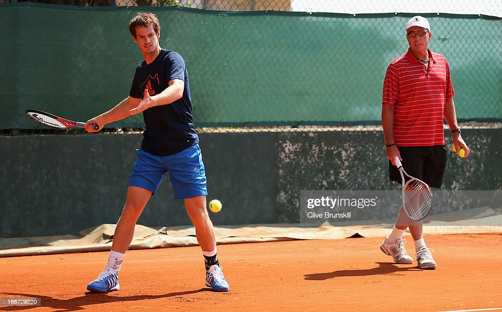 Andy Murray of Great Britain is watched by his coach Ivan Lendl at a practice session prior to his second round match during day three of the ATP Monte Carlo Masters,at Monte-Carlo Sporting Club on April 16, 2013 in Monte-Carlo, Monaco.