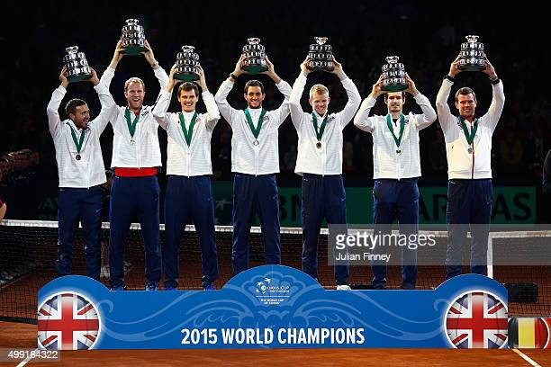 Andy Murray of Great Britain Jamie Murray Kyle Edmund James Ward and Captain Leon Smith of Great Britain celebrate winning the Davis Cup with a...