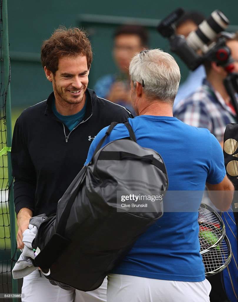 <a gi-track='captionPersonalityLinkClicked' href=/galleries/search?phrase=Andy+Murray+-+Tennis+Player&family=editorial&specificpeople=200668 ng-click='$event.stopPropagation()'>Andy Murray</a> of Great Britain jokes with his father in law <a gi-track='captionPersonalityLinkClicked' href=/galleries/search?phrase=Nigel+Sears&family=editorial&specificpeople=582385 ng-click='$event.stopPropagation()'>Nigel Sears</a> prior to a practice session prior to the Wimbledon Lawn Tennis Championships at the All England Lawn Tennis and Croquet Club on June 26, 2016 in London, England.