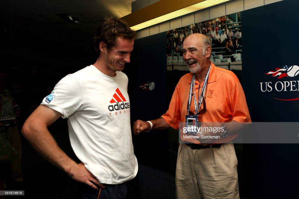 Andy Murray of Great Britain laughs with actor Sean Connery after his men's singles semifinal match against Tomas Berdych of Czech Republic on Day Thirteen of the 2012 US Open at USTA Billie Jean King National Tennis Center on September 8, 2012 in the Flushing neighborhood of the Queens borough of New York City.