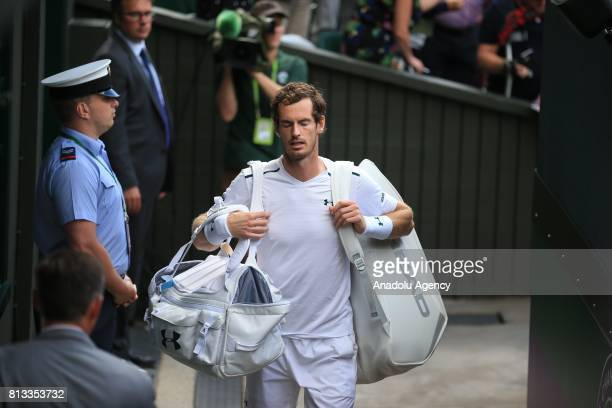 Andy Murray of Great Britain leaves Centre Court after losing against by Sam Querrey of United States on day nine of the 2017 Wimbledon Championships...