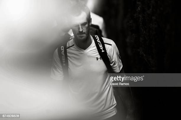 Andy Murray of Great Britain leaves the court after winning his match against Albert RamosVinolas of Spain in the quarterfinal on day five of the...