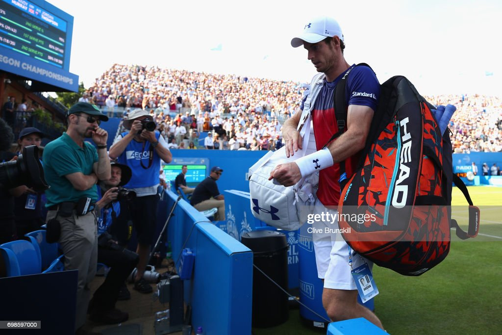 Andy Murray of Great Britain leaves the court following defeat in the mens singles first round match against Jordan Thompson of Australia on day two of the 2017 Aegon Championships at Queens Club on June 20, 2017 in London, England.