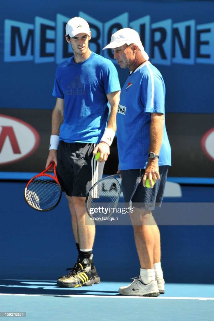 <a gi-track='captionPersonalityLinkClicked' href=/galleries/search?phrase=Andy+Murray+-+Tennis+Player&family=editorial&specificpeople=200668 ng-click='$event.stopPropagation()'>Andy Murray</a> of Great Britain listens to coach <a gi-track='captionPersonalityLinkClicked' href=/galleries/search?phrase=Ivan+Lendl&family=editorial&specificpeople=242990 ng-click='$event.stopPropagation()'>Ivan Lendl</a> during a practice session ahead of the 2013 Australian Open at Melbourne Park on January 11, 2013 in Melbourne, Australia.