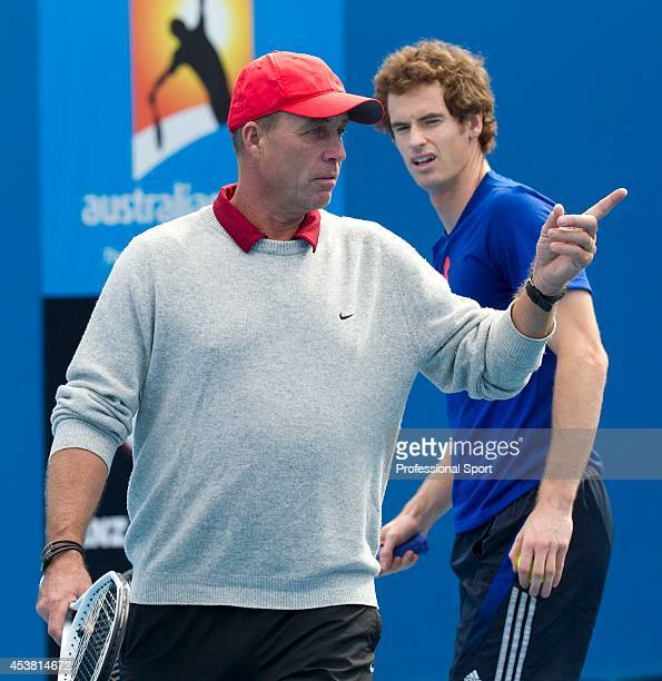 Andy Murray of Great Britain listens to his coach Ivan Lendl during practice ahead of the 2012 Australian Open at Rod Laver Arena on January 12 2012...