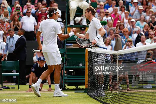 Andy Murray of Great Britain looks dejected after losing the Gentlemens Singles Semi Final match against Roger Federer of Switzerland during day...