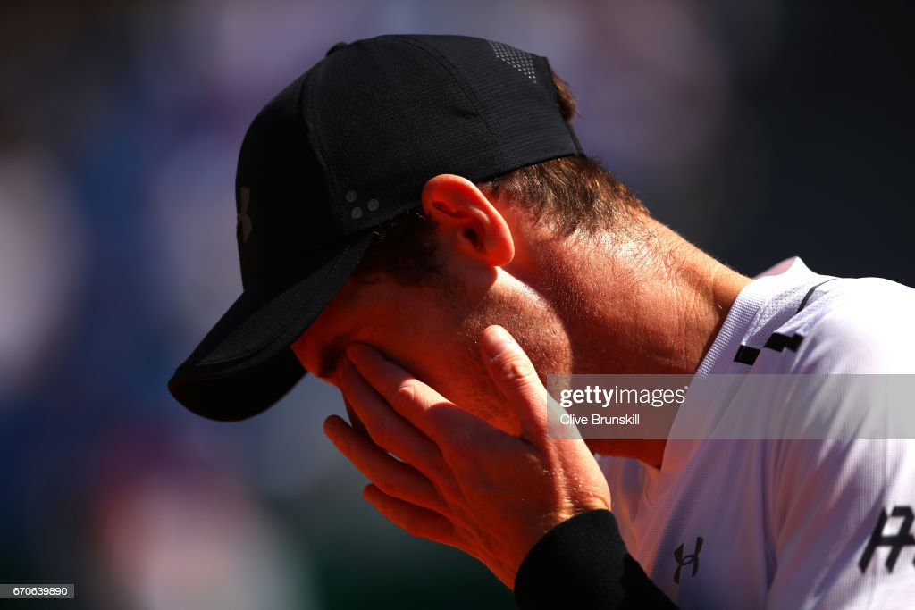 Andy Murray of Great Britain looks dejected during his third round match against Albert Ramos-Vinolas of Spain on day 5 of the Monte Carlo Rolex Masters Series at Monte-Carlo Sporting Club on April 20, 2017 in Monte-Carlo, Monaco.