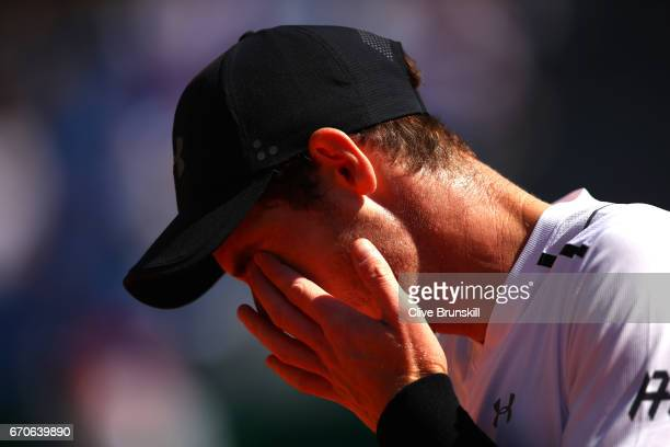 Andy Murray of Great Britain looks dejected during his third round match against Albert RamosVinolas of Spain on day 5 of the Monte Carlo Rolex...