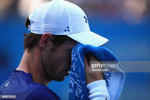 Andy Murray of Great Britain looks dejected during the mens singles first round match against Jordan Thompson of Australia on day two of the 2017...