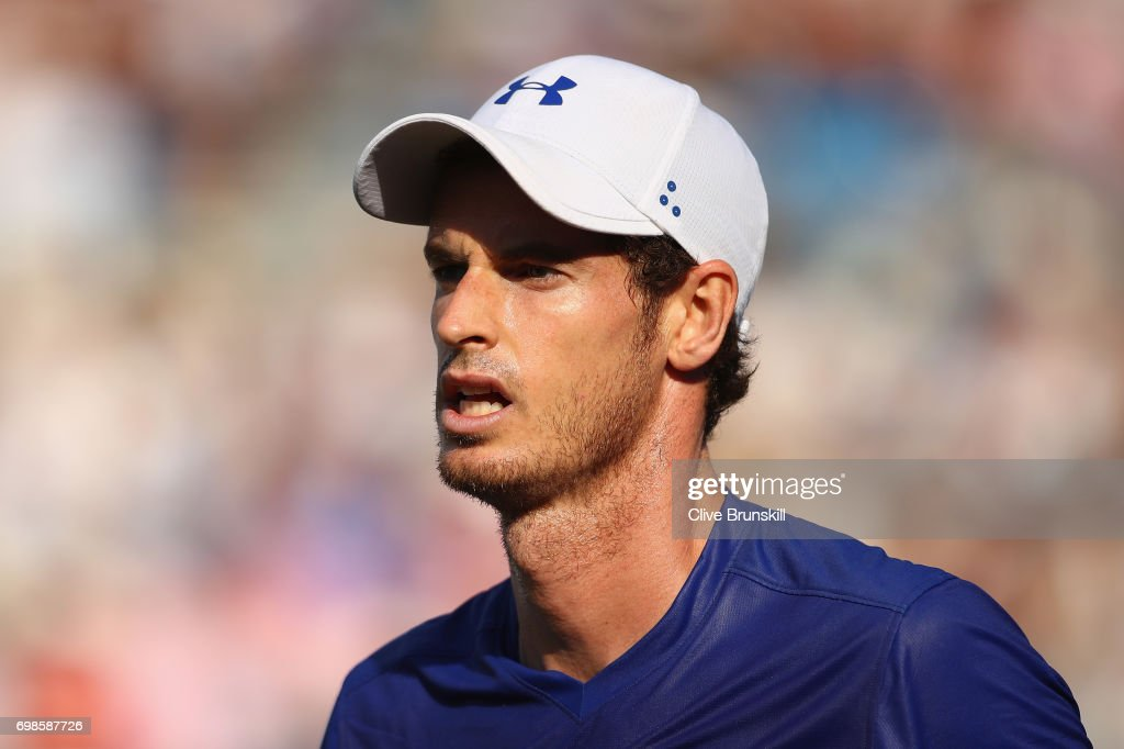 Andy Murray of Great Britain looks dejected during the mens singles first round match against Jordan Thompson of Australia on day two of the 2017 Aegon Championships at Queens Club on June 20, 2017 in London, England.