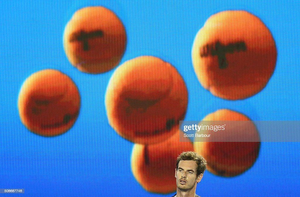 Andy Murray of Great Britain looks on as he sits in his chair in a break between games during his fourth round match against Bernard Tomic of Australia during day eight of the 2016 Australian Open at Melbourne Park on January 25, 2016 in Melbourne, Australia.