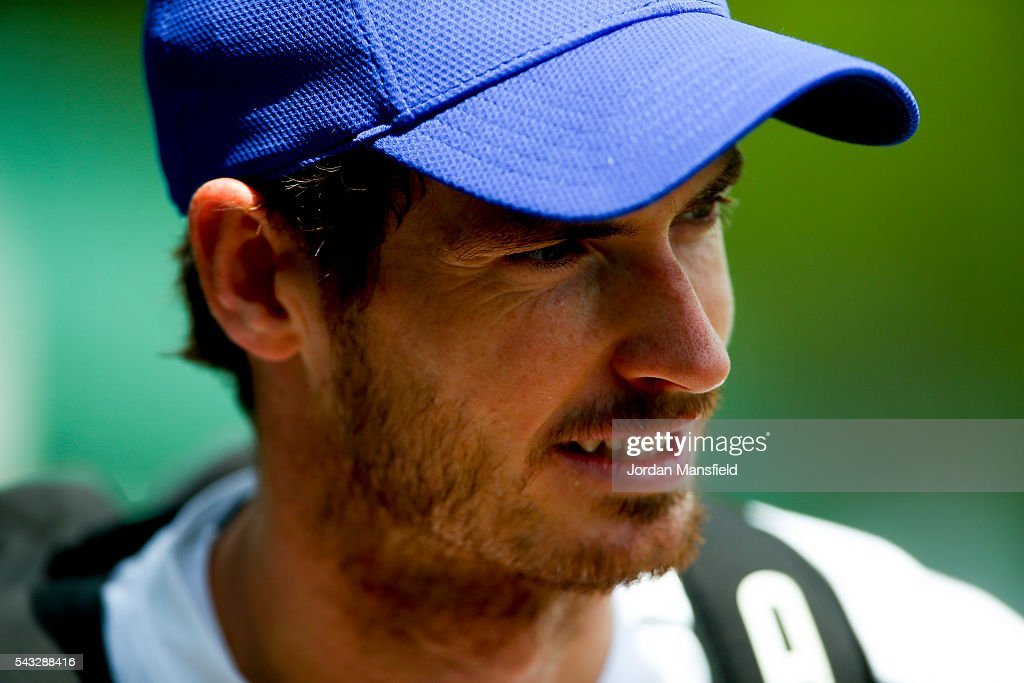 <a gi-track='captionPersonalityLinkClicked' href=/galleries/search?phrase=Andy+Murray+-+Tennis+Player&family=editorial&specificpeople=200668 ng-click='$event.stopPropagation()'>Andy Murray</a> of Great Britain looks on during a practice session on day one of the Wimbledon Lawn Tennis Championships at the All England Lawn Tennis and Croquet Club on June 26, 2016 in London, England.