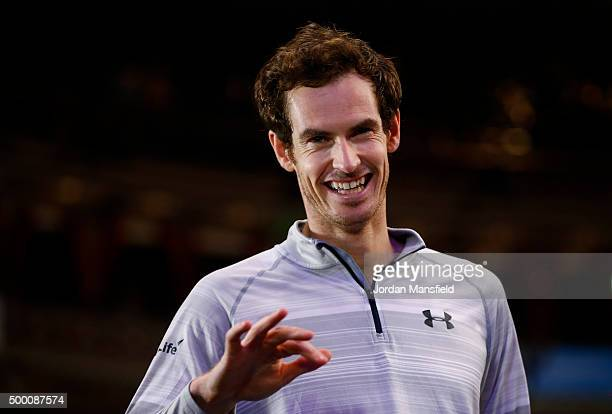 Andy Murray of Great Britain looks on during a TV interview on day four of the Masters Tennis at the Royal Albert Hall on December 5 2015 in London...