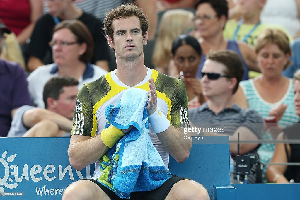Andy Murray of Great Britain looks on during his semi final match against Kei Nishikori of Japan during day seven of the Brisbane International at Pat Rafter Arena on January 5, 2013 in Brisbane, Australia.