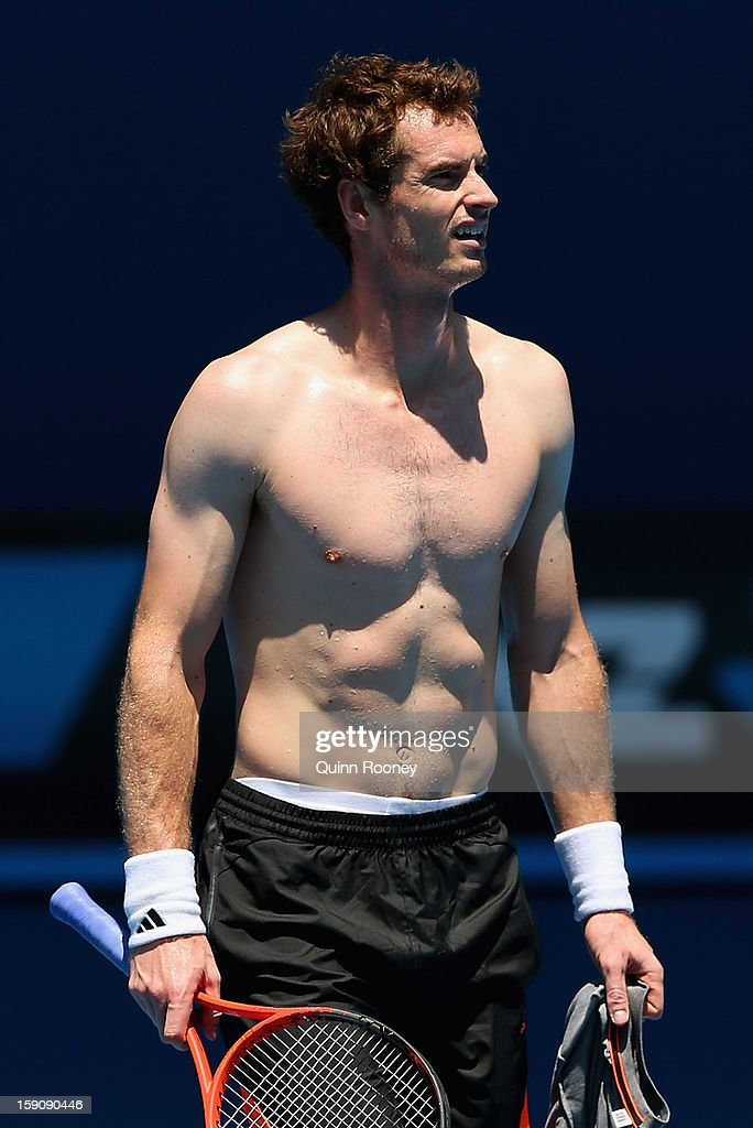 Andy Murray of Great Britain looks on during practice ahead of the 2013 Australian Open at Melbourne Park on January 8, 2013 in Melbourne, Australia.