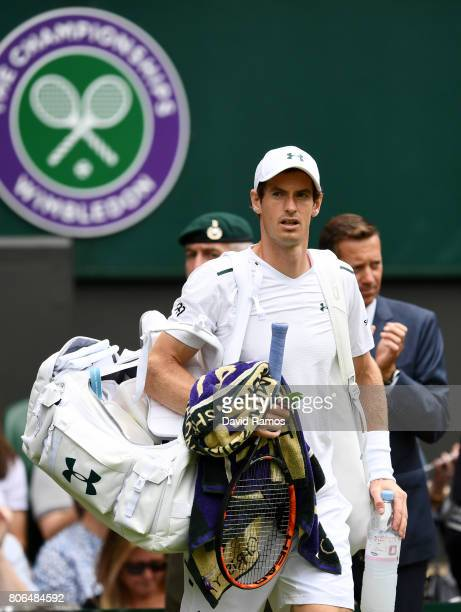 Andy Murray of Great Britain looks on during the Gentlemen's Singles first round match against Alexander Bublik of Kazakhstan on day one of the...