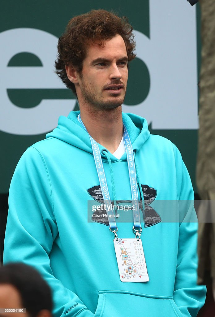 Andy Murray of Great Britain looks on during the Men's Singles fourth round match between Novak Djokovic of Serbia and Roberto Bautista Agut of Spainon day ten of the 2016 French Open at Roland Garros on May 31, 2016 in Paris, France.