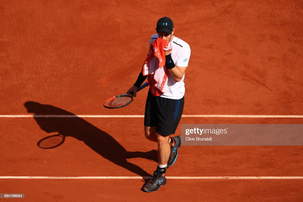 Andy Murray of Great Britain looks on during the men's singles semi final match against Stan Wawrinka of Switzerland on day thirteen of the 2017 French Open at Roland Garros on June 9, 2017 in Paris, France.