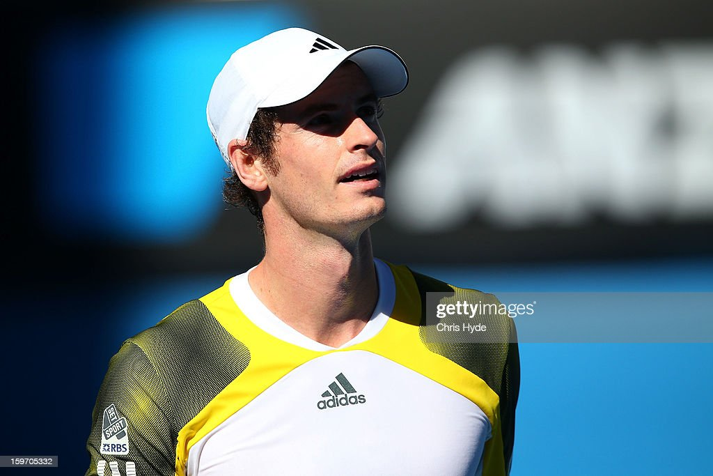 Andy Murray of Great Britain looks on in his third round match against Ricardas Berankis of Lithuania during day six of the 2013 Australian Open at Melbourne Park on January 19, 2013 in Melbourne, Australia.