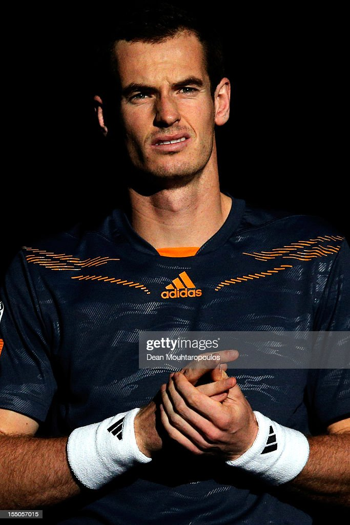 <a gi-track='captionPersonalityLinkClicked' href=/galleries/search?phrase=Andy+Murray+-+Tennis+Player&family=editorial&specificpeople=200668 ng-click='$event.stopPropagation()'>Andy Murray</a> of Great Britain looks on prior to his match against Paul-Henri Mathieu of France during day 3 of the BNP Paribas Masters at Palais Omnisports de Bercy on October 31, 2012 in Paris, France.