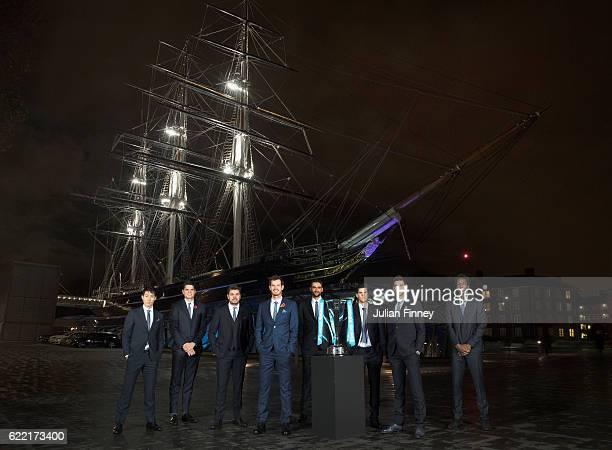 Andy Murray of Great Britain Novak Djokovic of Serbia Stan Wawrinka of Switzerland Milos Raonic of Canada Kei Nishikori of Japan Gael Monfils of...