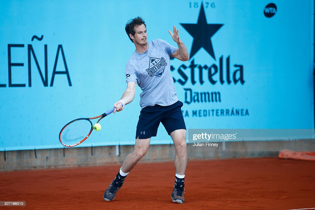 <a gi-track='captionPersonalityLinkClicked' href=/galleries/search?phrase=Andy+Murray+-+Tennis+Player&family=editorial&specificpeople=200668 ng-click='$event.stopPropagation()'>Andy Murray</a> of Great Britain on the practice court during day three of the Mutua Madrid Open tennis tournament at the Caja Magica on May 02, 2016 in Madrid, Spain.