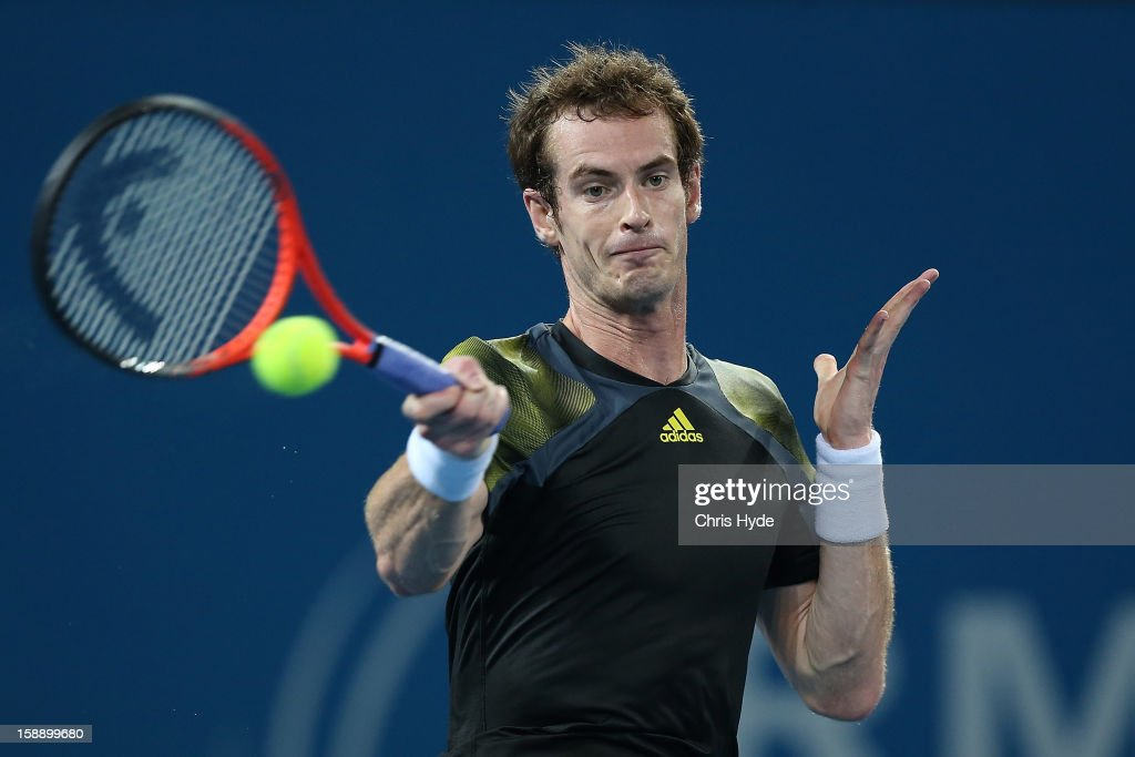 <a gi-track='captionPersonalityLinkClicked' href=/galleries/search?phrase=Andy+Murray+-+Tennis+Player&family=editorial&specificpeople=200668 ng-click='$event.stopPropagation()'>Andy Murray</a> of Great Britain play a forehand during his match against John Millman of Australia on during day five of the Brisbane International at Pat Rafter Arena on January 3, 2013 in Brisbane, Australia.