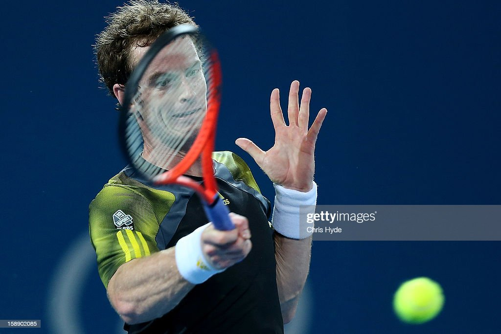 Andy Murray of Great Britain play a forehand during his match against John Millman of Australia on day five of the Brisbane International at Pat Rafter Arena on January 3, 2013 in Brisbane, Australia.