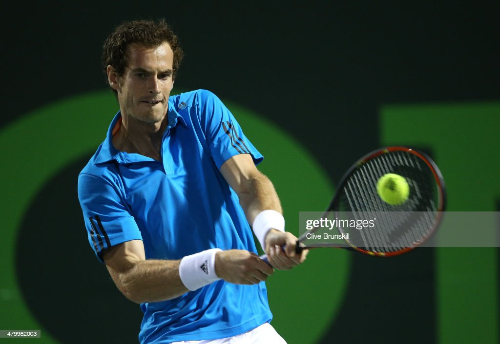 Andy Murray of Great Britain plays a backhand against Matthew Ebden of Australia during their second round match during day 5 at the Sony Open at Crandon Park Tennis Center on March 21, 2014 in Key Biscayne, Florida.