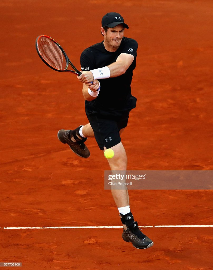 Andy Murray of Great Britain plays a backhand against Radek Stepanek of the Czech Republic in their second round match during day four of the Mutua Madrid Open tennis tournament at the Caja Magica on May 03, 2016 in Madrid,Spain.