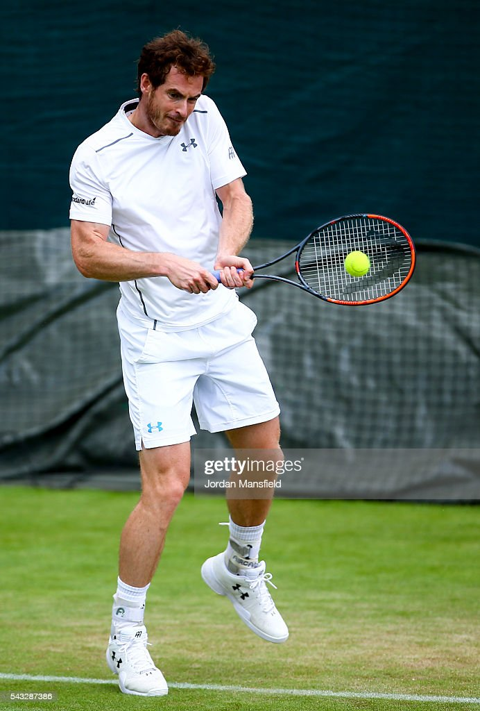 <a gi-track='captionPersonalityLinkClicked' href=/galleries/search?phrase=Andy+Murray+-+Tennis+Player&family=editorial&specificpeople=200668 ng-click='$event.stopPropagation()'>Andy Murray</a> of Great Britain plays a backhand during a practice session on day one of the Wimbledon Lawn Tennis Championships at the All England Lawn Tennis and Croquet Club on June 26, 2016 in London, England.