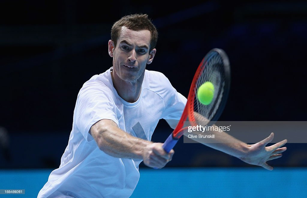 Andy Murray of Great Britain plays a backhand during a practice session prior to the start of ATP World Tour Finals Tennis at the O2 Arena on November 4, 2012 in London, England.