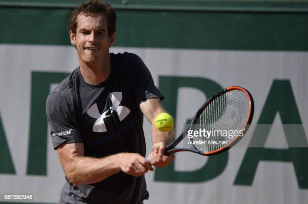 Andy Murray of Great Britain plays a backhand during a training session at the 2017 French Open at Roland Garros on May 23 2017 in Paris France