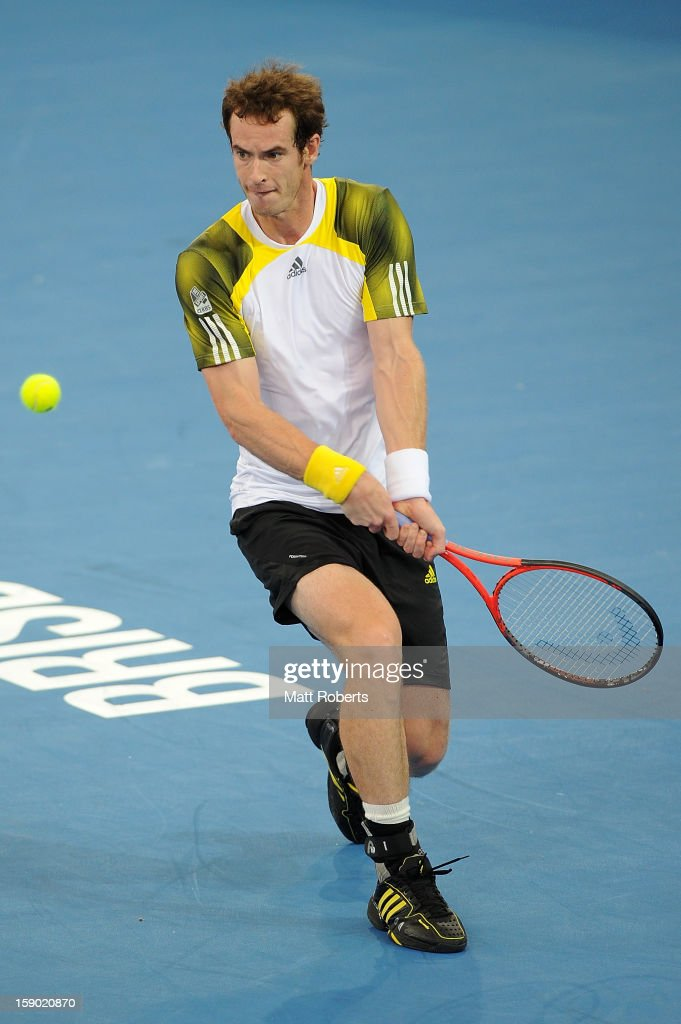 Andy Murray of Great Britain plays a backhand during his final match against Grigor Dimitrov of Bulgaria on day eight of the Brisbane International at Pat Rafter Arena on January 6, 2013 in Brisbane, Australia.